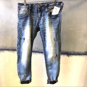Rock Revival Ankle Skinny Jeans 27 Moon Distressed